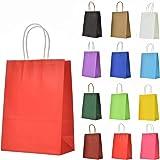 LivDeal 12 Stück Papiertüten aus Kraftpapier Geschenktüten mit Henkel Kindergeburtstag Mitgebsel Tüten für Weihnachten Partys