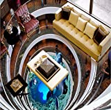 Wmbz Benutzerdefinierte 3D Stereo Rotary Treppen Dolphin Aufkleber Wand Wohnzimmer Mall Selbstklebende Bodenbelag Tapete-450X300Cm