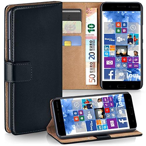 MoEx Nokia 6 (2017) Hülle Schwarz mit Karten-Fach [OneFlow 360° Book Klapp-Hülle] Handytasche Kunst-Leder Handyhülle für Nokia 6 (2017) Case Flip Cover Schutzhülle Tasche