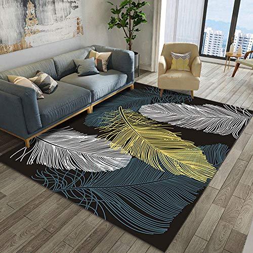 Mengjie Home Teppich Blaue, weiße, gelbe, große Federn, 7 mm Dicke Waschbarer zeitgenössisches Muster für Wohnzimmer, Schlafzimmer, Kindergarten 140x200CM -