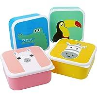 com-four® Boîte à lunch 4x pour les déplacements - boîte à lunch colorée pour enfants avec des motifs d'animaux cool (04…
