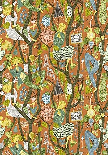 Stig Lindberg 1755 Vliestapete Phantasiemotiv Menschen Tiere Bäume bunt auf orange-rot