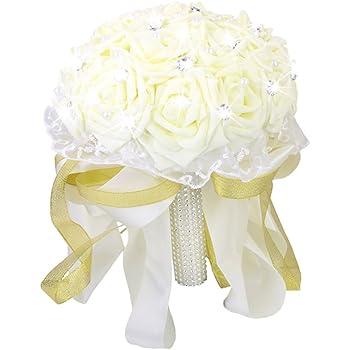 Sharplace Kunstliche Brautstrauss Hochzeitsstrauss Strass Rose Braut