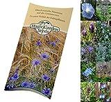 Saatgut Set: 'Blaue Blüten', 6 hellblau, violett und dunkelblau blühende Blumen für den Garten als Samen in schöner Geschenkverpackung