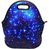 Eurshine Neoprene Lunch Tote Bag Cooler Bag Insulated Thermal For School Travel Outdoor(Blue Shining Stars)
