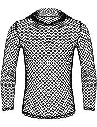 Freebily Camiseta de Malla Transparente Ropa Interior Sexy Erotica Camisa Blusa Ajuste Negro para Hombre Permeable