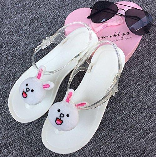 Xing Lin Sandales Pour Dames Sandales DÉté Belle Personnalité Féminine De Fruits Citron Vent Harajuku Toe Clip Beach Appartement Étudiant Jelly Shoes White rabbit bottom