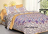 Jaipuri haat Traditional Print Cotton Double Bedsheet with 2 Pillow Covers - King, Multicolor