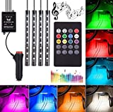 #10: Pivalo 4x 9 LED Multi-Colour RGB Car Interior Decorative Light Floor Atmosphere Strip Light Car Under Dash Interior LED Lighting Kit with Car Charger and Sounds Activated Wireless IR Remote Control (6W, Set of 4)