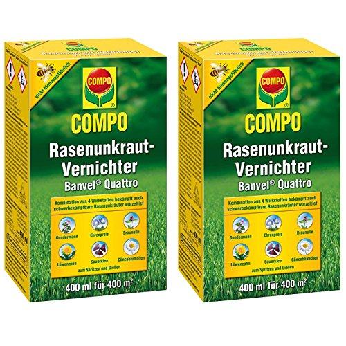 GARDOPIA Sparpaket: 2 x 400ml COMPO Rasenunkraut-Vernichter Banvel Quattro Rasen Unkrautfrei + Gardopia Zeckenzange mit Lupe