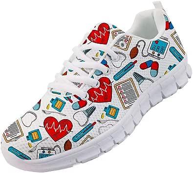 Chaqlin, scarpe da ginnastica da donna con lacci, da corsa, da donna, con stampa medica cartoni animati