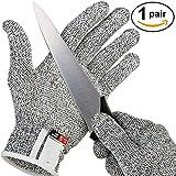 Bornbayb 1 Paire Gants résistants aux coupures de qualité Alimentaire Niveau 5 Protection Gants de Coupe de sécurité pour la Cuisine