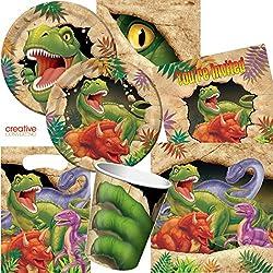 Dekospass - Juego de accesorios para fiesta de cumpleaños infantil (para 8 niños: platos, vasos, servilletas, invitaciones, bolsitas, mantel, serpentinas, globos), diseño de dinosaurios