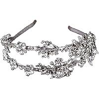 ZCM Braut krone, Gold Und Silber Zweireihig Blume Stirnband Brautkleid Zubehör (Farbe : Silber)