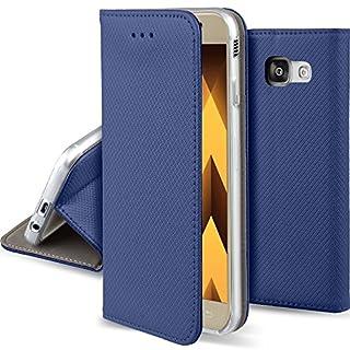 Moozy Hülle Flip Case für Samsung A5 2017, Dunkelblau - Dünne magnetische Klapphülle Handyhülle mit Standfunktion