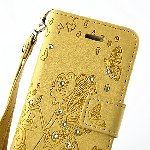 iPhone se Coque Housse Iphone 5S, saincat Apple iPhone se/5S/5 étui en cuir portefeuille BookStyle PU cuir Wallet Case Étui en cuir Folio Relief empreinte papillon Coque bumper Bling Strass Diamant Ho Papillons,or jaune