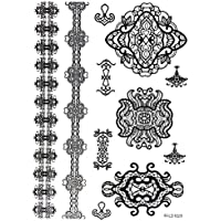 ღ Mls1023 Flash Tattoo tatuaje temporal pegatinas etiquetas pulseras de oro joyas de oro etiqueta engomada de la hoja de Metal-metálico del cuerpo