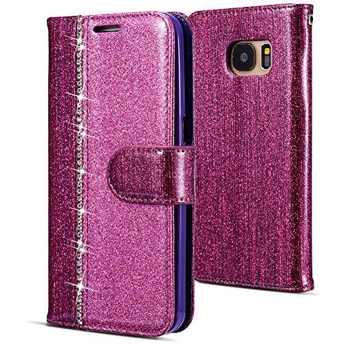 WIWJ Kompatibel mit Samsung Galaxy S7 Hülle,Handyhülle Samsung Galaxy S7,Flip Case Cover Premium Tasche[Punktbohrer Ledertasche]Handytasche Brieftasche Hülle Etui Schutzhülle-Lila