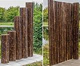Bambusmatte schwarz, sehr stabile Ausführung, 90x250cm, Bambusrohrdurchmesser ca.24mm - Sichtschutzmatte Bambus Matten