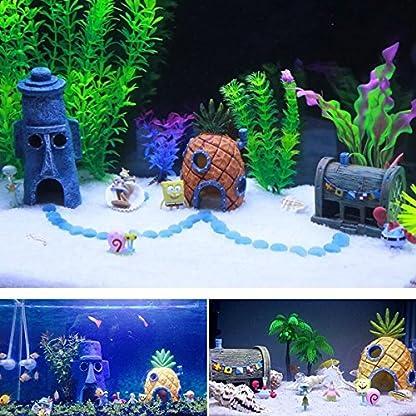 Ishowstore Spongebob Fish Tank Ornament Aquarium Decorations Squarepants Ornaments pineapple house (Pack of 3) 5