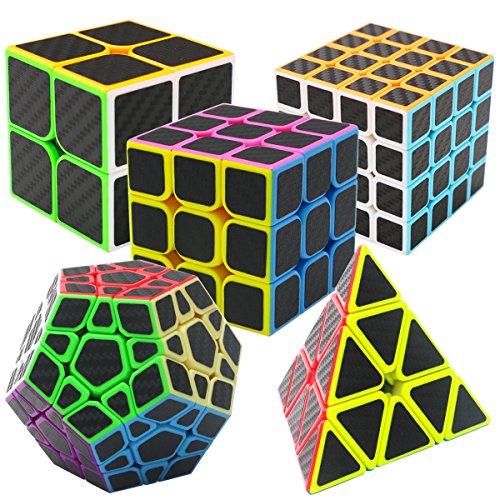 Preisvergleich Produktbild Zauberwürfel Geschenkset 5 Pack Pyraminx + Megaminx + 2x2x2 + 3x3x3 + 4x4x4 mit Geschenkbox Coolzon® Neue Geschwindigkeits Carbon Faser Aufkleber