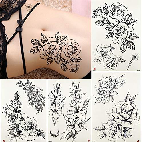 yyyDL Wasserdichte Skizze Tattoos Temporäre WomenBody Taille Arm Gefälschte Blume Tatoos Aufkleber Mädchen Daisy Rose Art Tattoo Paste 21 * 15 cm4 stücke (Das Ohr Für Olivenöl)