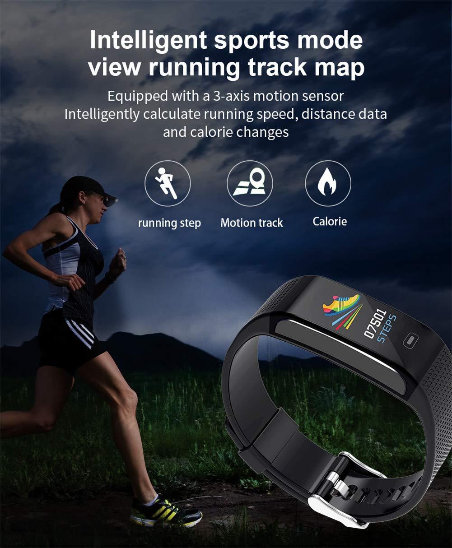 Hunterace Reloj Inteligente Hombre o Mujer, con Monitor de frecuencia cardíaca, con Contador de Pasos, multifunción, Resistente al Agua, Pulsera Inteligente (3 Colores) 3