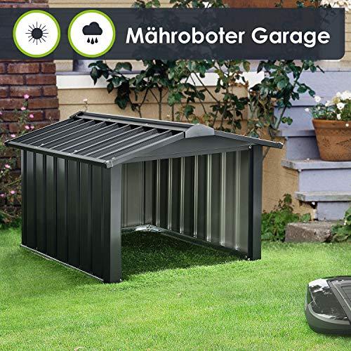 Juskys Metall Mähroboter Garage mit Satteldach - 86 × 98 × 63 cm - Sonnen- & Regenschutz für Rasenmäher - anthrazit - Rasenroboter Carport