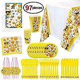 Konsait 97-Teiliges Party-Set Emoji - Partybecher Teller Tischdecke Papierserviette Mitgebsel Partytüten Popcorn-Boxen Partygeschirr für Kindergeburtstag Party
