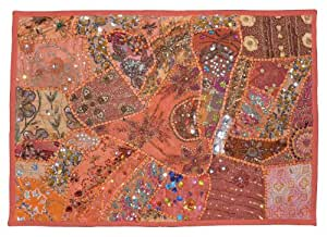 Indien décoratif coton Tenture de tapisserie de paillettes , de perles de broderie de fil et multicolore Vieux Sari Patchwork Tapisserie, 61 X 91