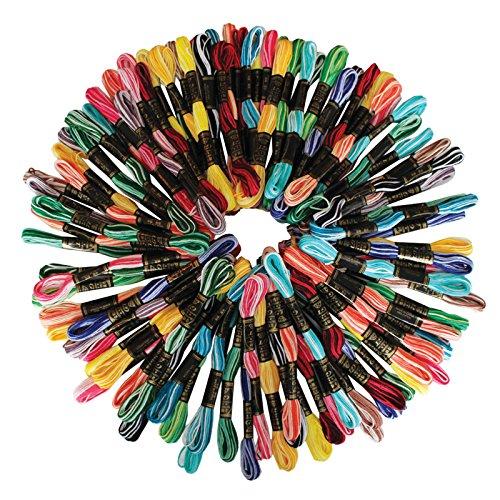 100 teiliges Set aus 8 m Gestreiften Nähen Stickerei Baumwoll-Garn von Kurtzy - Großes Set Auswahl an Farben - 6 Garnstränge - Strapazierfähig - Sortierte Überlegene Farben zum Sticken auf Stoff (Baumwolle-wolle-halter)