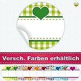 24 Aufkleber / Etiketten / Sticker | Landhausstil Kariert Herz | Rund | Ø 40 mm | Hellgrün/Grün | F00038-02 | Ohne Beschriftung! | CuteLove & Head-Beat