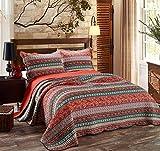 Alicemall Tagesdecke Bettwäsche 3 Teilig 100% Baumwolle Decke Soft Couch Überwurf 230 x 250 cm und 2 Kissenbezüge 50 x 70 cm - Retro Streifen