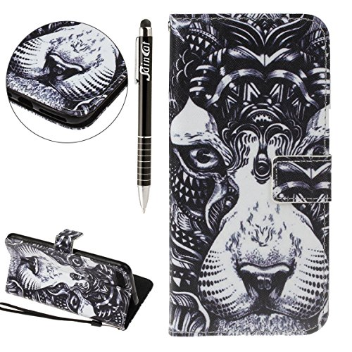 Custodia iPhone 7 Plus, iPhone 7 Plus Flip Case Leather, SainCat Custodia in Pelle Flip Cover per iPhone 7 Plus, Anti-Scratch Book Style Protettiva Caso PU Leather Flip Portafoglio Custodia Libro Prot Leone