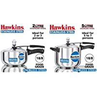 Hawkins Stainless Steel Pressure Cooker, 2 litres, Silver & Stainless Steel Pressure Cooker, 5 litres, Silver Combo