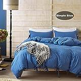 Bettbezug Set, Morbuy 2pcs Einfache Bettwäsche Set 135 x 200 cm 100% Polyester Mikrofaser Gemütlich Printing Bettbezug Set (Blau)