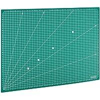 MAXKO base de corte A2 (60 x 45 cm), verde, autocicatrizante, reticulado sistema métrico/tabla para cortar/cartapacio / ecológica de PVC - protección para cuchillas y mesas de trabajo
