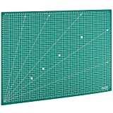 MAXKO Schneidematte A2 (60 x 45 cm), grün, selbstheilend, mit Raster - Schneideunterlage, Cutting Mat, Schnittunterlage für Rollschneider, umweltschonend aus PVC - so bleiben Klingen scharf