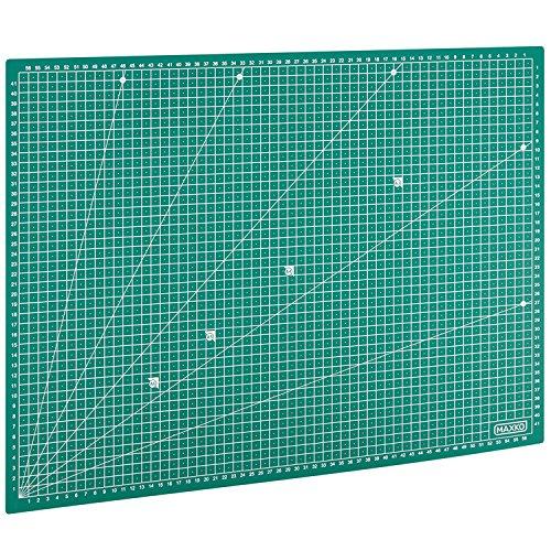 MAXKO Schneidematte A2 (60 x 45 cm), grün, selbstheilend, mit Raster – Schneideunterlage, Cutting Mat, Schnittunterlage für Rollschneider, umweltschonend aus PVC - so bleiben Klingen scharf
