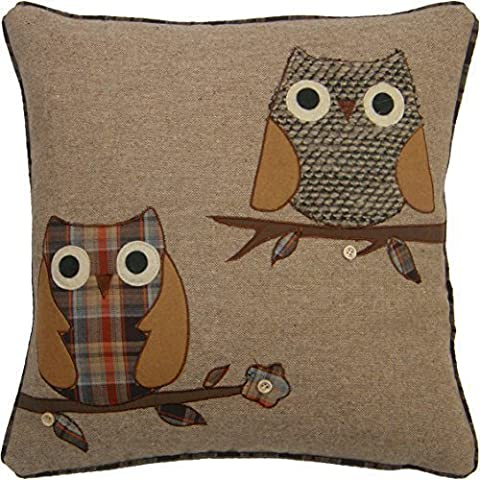 TWO OWLS COFFEE TARTAN EMBROIDERED BUTTON WOOL BLEND 18