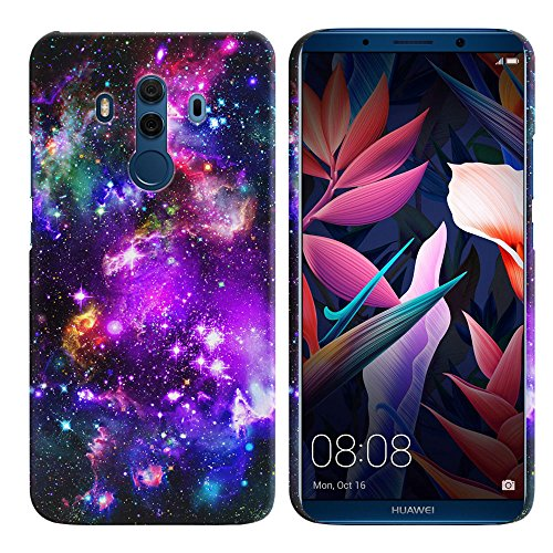 fincibo Case, Back Cover Hartschale Kunststoff Beschützer Fall Stylischem Design für Huawei Mate 10 Pro/Porsche Design 15,2 cm - Multicolor Paws Dog, Purple Marvel Nebula Galaxy