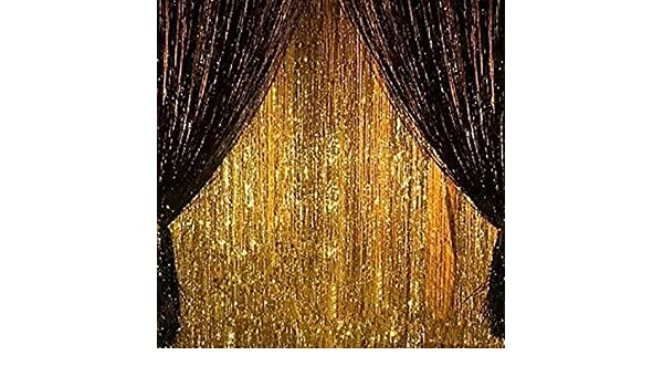 2PCS 3/' X 8/' Gold and Black Metallic Tinsel Foil Fringe Curtain Halloween Decor