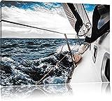 Die weißen Segel der Yacht B&W Detail, Format: 120x80 auf Leinwand, XXL riesige Bilder fertig gerahmt mit Keilrahmen, Kunstdruck auf Wandbild mit Rahmen, günstiger als Gemälde oder Ölbild, kein Poster oder Plakat