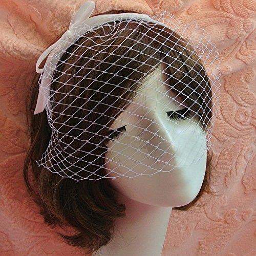 Goliton® Damen Party Cocktail Kopfschmuck Fascinator Hochzeit Feder Schleier Hut Haarband - Weiß