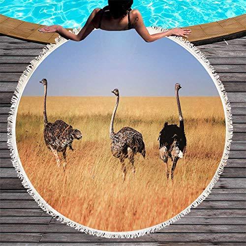 DOLDT1 Teppich, runde Strandtuch drucken Wildtier Muster Yoga Decke Mauspad Kunst absorbierenden Schaum Pad Quaste Picknick Mikrofaser Pad 150 cm Komfortabel und schön (Color : 1, Size : 150CM)
