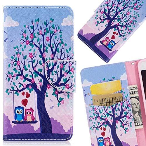 LEMORRY Per Nokia 2 Custodia Sbalzato Pelle Cuoio Flip Portafoglio Borsa Sottile Protettivo Magnetico Chiusura Morbido Silicone TPU Cover Custodia per Nokia 2, Cute Owl Albero