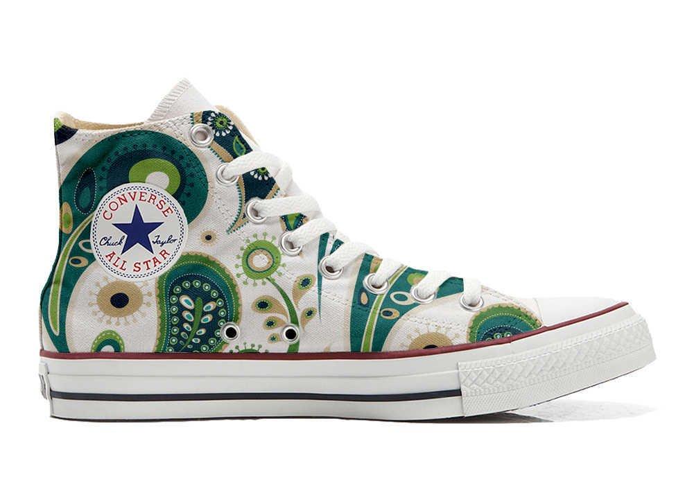 Converse Personalizados All Star Customized – Zapatos Personalizados (Producto Artesano) White Green Paisley 1