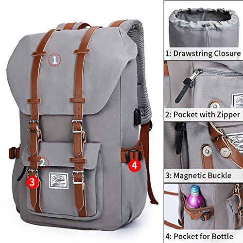 Canvas Rucksack, Casual Daypack mit USB Charge Port Backpack Schulrusack Laptoprucksack für Freitzeit Arbeit Campus Schule Reise, Grau - 6