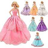 Miunana 5 Hochzeit Fashionistas Prinzessinnen Kleidung Kleider Puppenkleid für Barbie Puppen