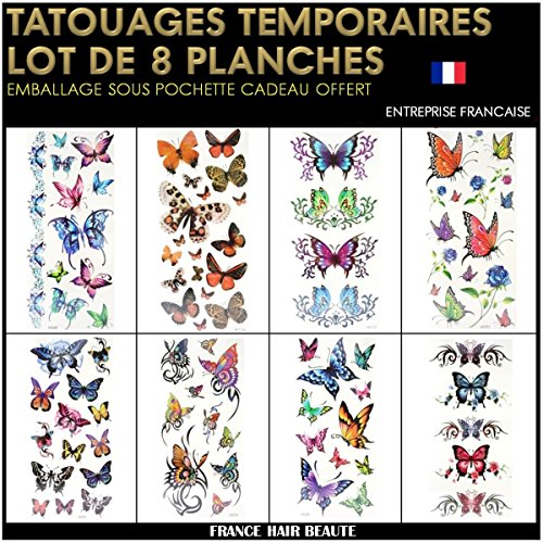 8adesivo tatuaggi ephemeres temporanei farfalle colori, motivo: maori non tossico (20cmx12cm). waterproof. confezione regalo + regali offerti in più.